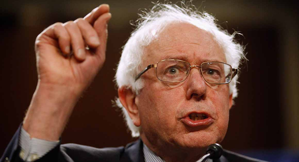 """WASHINGTON, DC - MARCH 28:  Sen. Bernie Sanders (I-VT) addresses a rally in support of Social Security in the Dirksen Senate Office Building on Capitol Hill March 28, 2011 in Washington, DC. Sanders and four other Democratic senators, including Senate Majority Leader Harry Reid (D-NV), said the Republicans' entitlement reform plan will """"dismantle Social Security, delay distribution of benefits to seniors.""""  (Photo by Chip Somodevilla/Getty Images) *** Local Caption *** Bernie Sanders"""